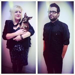 I wore a leopard peplum dress and Juan rocked a black shirt and tie.